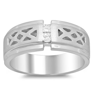 14k White Gold Men's 1/5ct TDW Diamond Ring (F-G, SI1-SI2)
