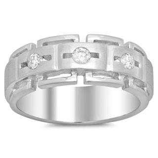 14k White Gold Men's 1/3ct TDW Diamond Ring (F-G, SI1-SI2)