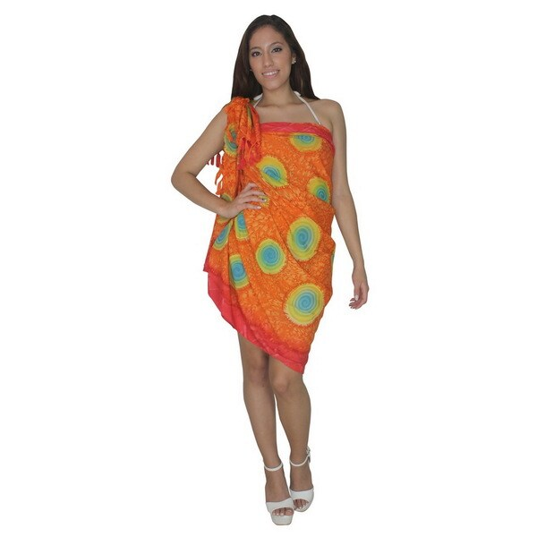 La Leela Orange Self Printed Sheer Sarong