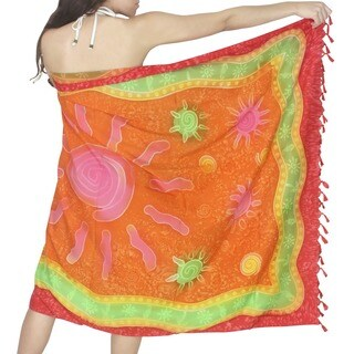 La Leela Orange Swirl Sun Print Chiffon Sarong