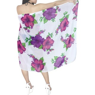La Leela White and Pink Floral Print Sheer Chiffon Sarong