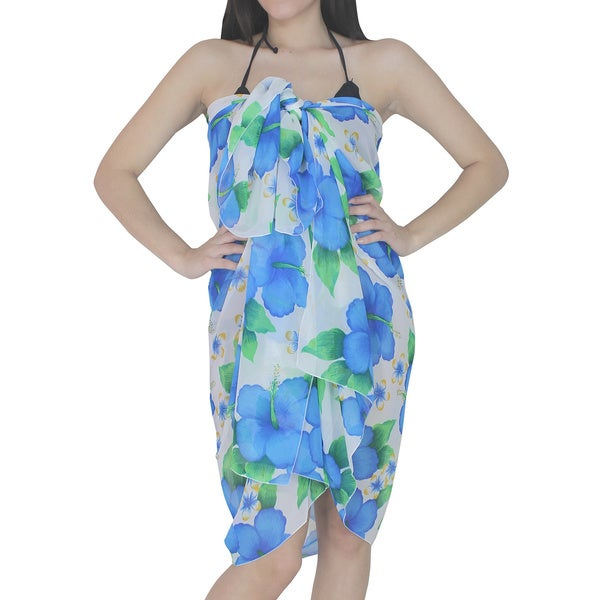 La Leela Blue and White Hibiscus Flower Print Sarong