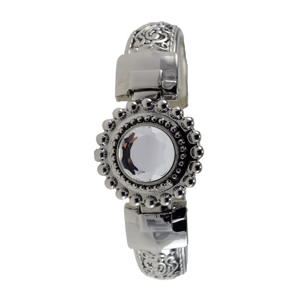 Women's JF120 Silver Filigree Cuff Style Watch with Flip-up Clear Crystal Cover