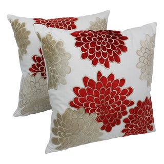 Blazing Needles 20-inch Indian Floral Bursts Velvet Applique Throw Pillows (Set of 2)