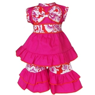 AnnLoren Hot Pink/ orange Damask Tunic and Capri 2-piece Doll Outfit