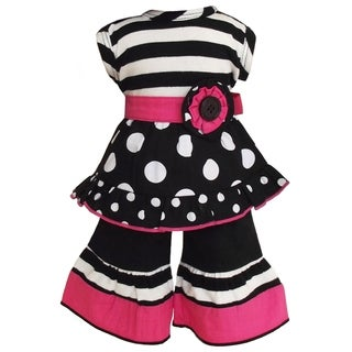 AnnLoren Stripes and Polka Dots Tunic and Capri 2-piece Doll Outfit