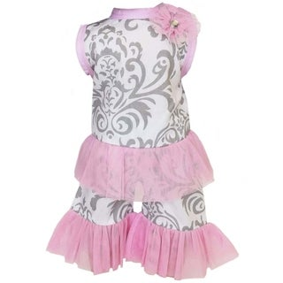 AnnLoren Grey Damask and Pink Tulle Tunic 2-piece Doll Outfit