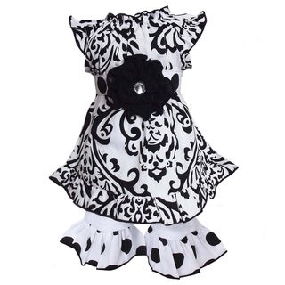 AnnLoren Black/ White Damask Tunic 2-piece Doll Outfit