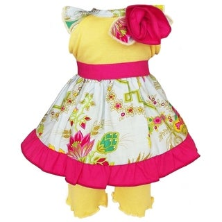 AnnLoren Floral Bouquet Dress and Yellow Capri Leggings 2-piece Doll Outfit