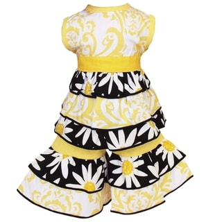 AnnLoren Yellow Daisies/ Damask Rumba Tunic and Capri 2-piece Dolls Outfit