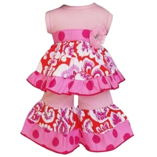 AnnLoren Orange/ Pink Damask Tunic and Capri 2-piece Doll Outfit