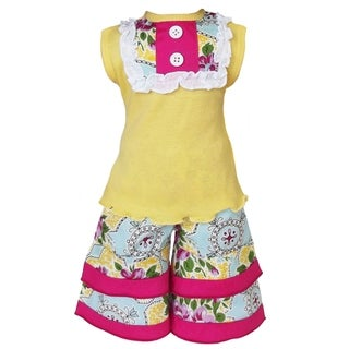 AnnLoren Yellow Tank and Floral Damask Capri 2-piece Doll Outfit