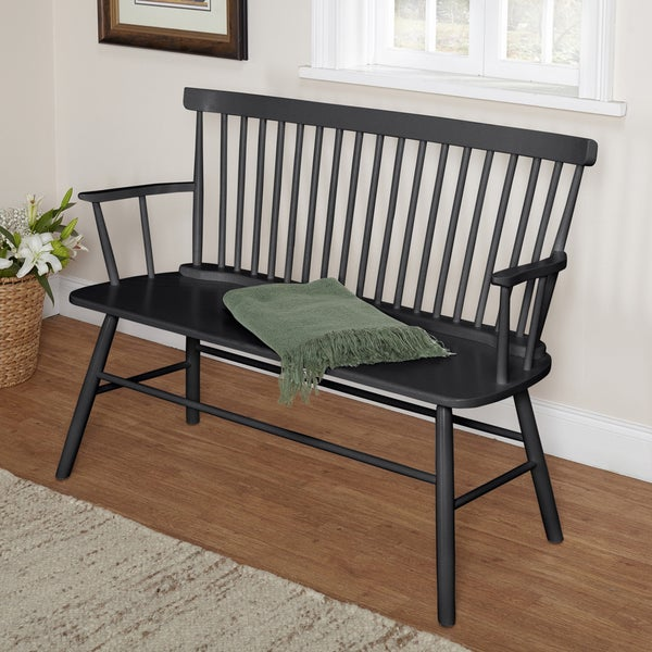 Simple Living Black Shelby Bench - 16895653 - Overstock.com Shopping - Great Deals on Simple ...