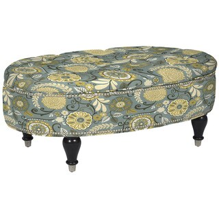 angelo:HOME Penny York Autumn Grey Floral Oval Storage Ottoman
