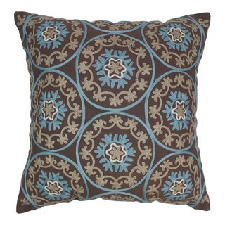 Blazing Needles 20-inch Indian Floral Medallion Embroidered Throw Pillow