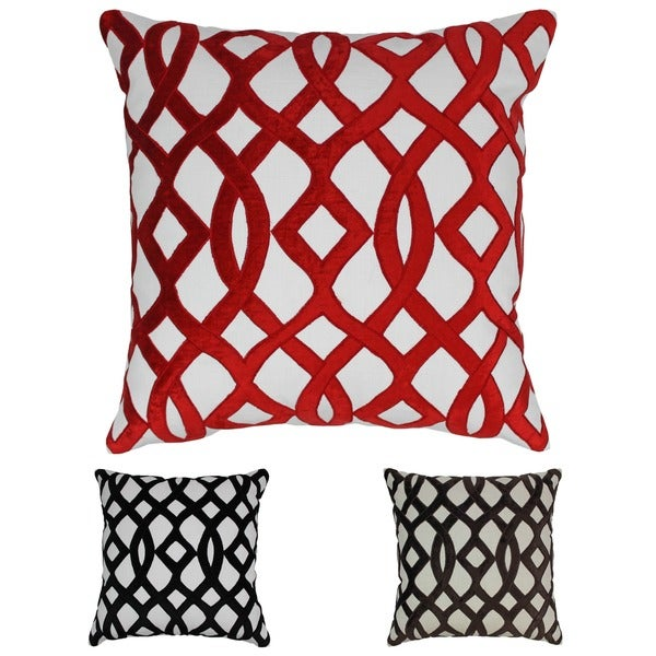 Blazing Needles 20-inch Indian Trellis Velvet Applique Throw Pillow