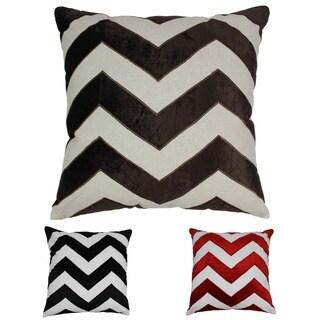 Blazing Needles 20-inch Indian Chevron Velvet Applique Throw Pillow