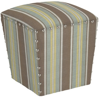 angelo:HOME Easton Autumn Grey Stripe Ottoman