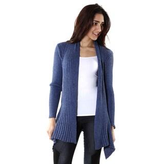 Hadari Womens Blue Ribbed Long Sleeve Draped Cardigan