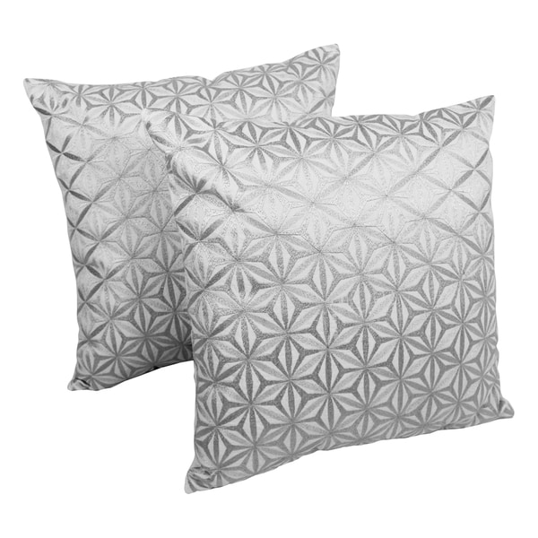 Blazing Needles 20-inch Indian Diamond Mosaic Silver/ Ivory Embroidered Throw Pillows (Set of 2)