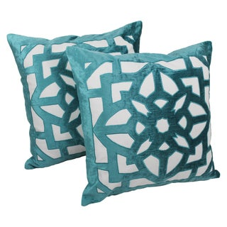 Blazing Needles 20-inch Indian Geometric Elegance Velvet Applique Throw Pillows (Set of 2)