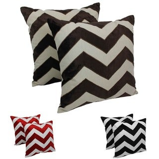 Blazing Needles 20-inch Indian Chevron Velvet Applique Throw Pillows (Set of 2)