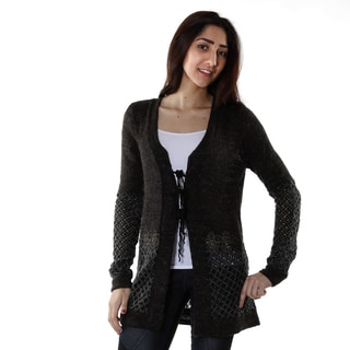 Hadari Women's Charcoal Knitted Vintage Long Sleeve Cardigan