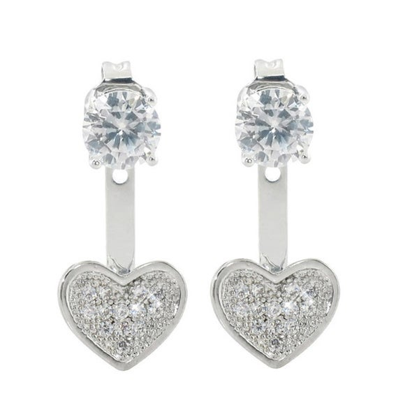 Eternally Haute 2ct TGW Pave Heart Front to Back Earrings