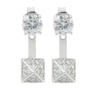 Eternally Haute 2ct TGW Pave Delta Front to Back Earrings