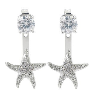 Eternally Haute 2ct TGW Pave Starfish Front to Back Earrings