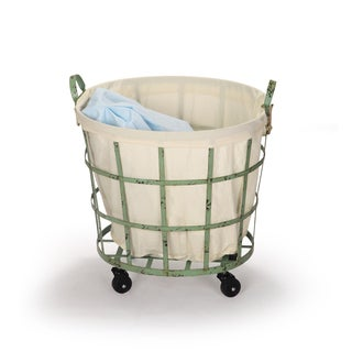 Adeco Round Rolling Laundry and Storage Baskets, Beige Lining, Window Pattern, Khaki Green (Set of 2)