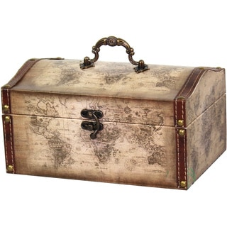 Old World Map Leather Vintage Style Treasure Box