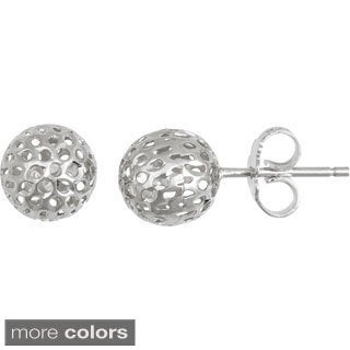 Sterling Silver Italian Filigree Ball Stud Earrings