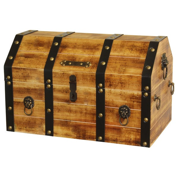 Large wooden pirate trunk with lion rings storage treasure