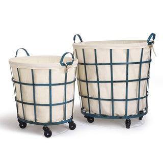 Adeco Round Rolling Laundry and Storage Baskets, Beige Lining Window Pattern, Teal Blue (Set of 2)