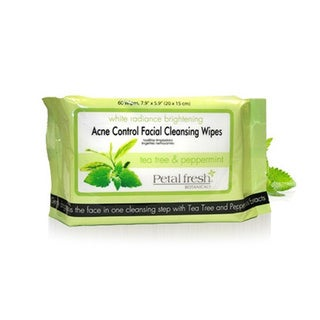 Petal Fresh Botanicals White Radiance Brightening Tea Tree and Peppermint Acne Control Cleansing Wipes (60 Count)