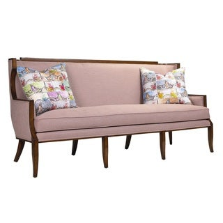 French Heritage Marlo Mahogany Upholstered Art Deco Sofa