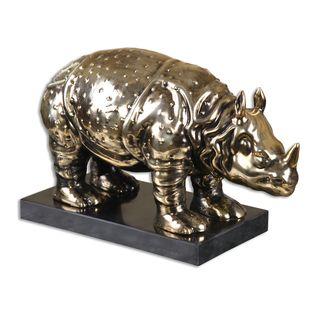 Uttermost Brass Ceramic Rhino Sculpture