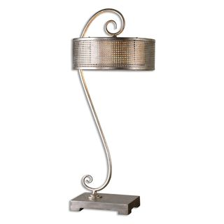 Uttermost dalou 2 light antiqued silver champagne scroll for Overstock silver floor lamp