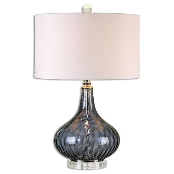 Uttermost Sutera 1-light Transparent Blackcurrant Glass Table Lamp