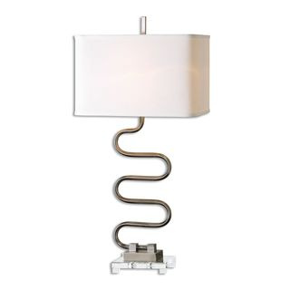 Karna 1-light Plated Brushed Nickel Table Lamp