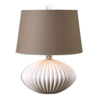 Uttermost Bariano 1-light Crackled Gloss White Table Lamp