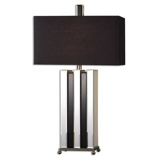 Raymer 1-light Beveled Mirrors/ Black Glass Table Lamp