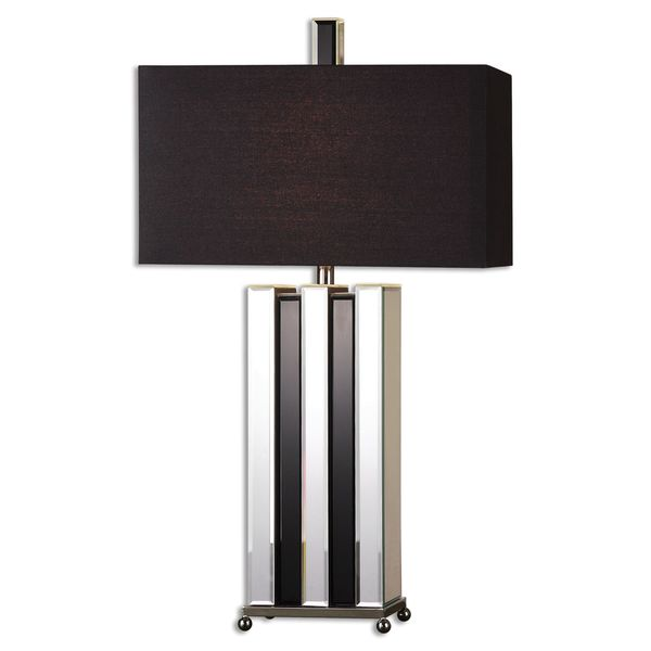 Uttermost Raymer 1-light Beveled Mirrors/ Black Glass Table Lamp
