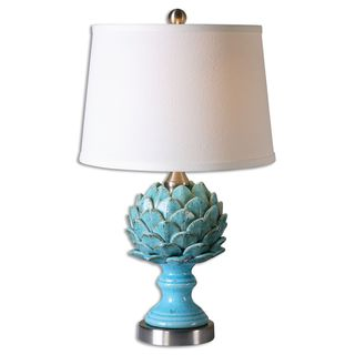 Cynara 1-light Crackled Sky Blue Table Lamp