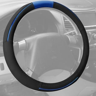 FH Group Blue Black Supreme Top Grain Authentic Leather Steering Wheel Cover