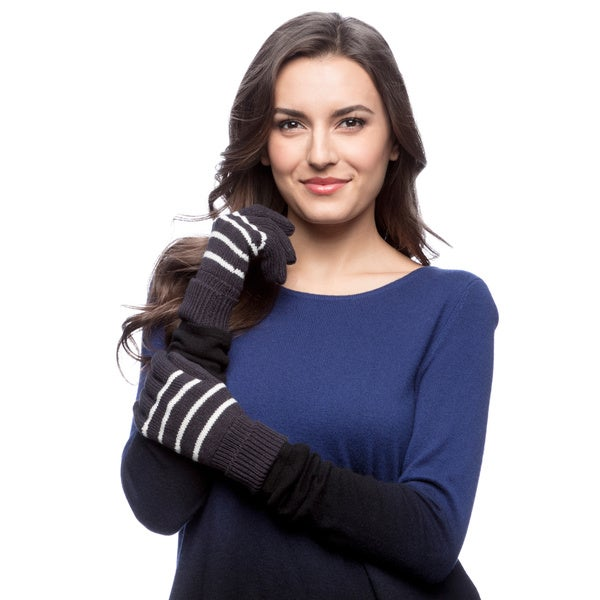 Nautica Blue Women's Bi-color Knit Gloves