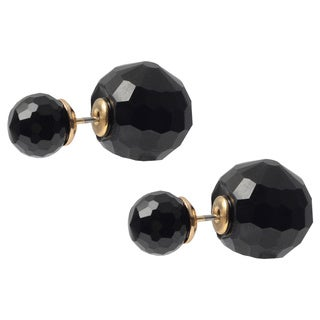 Journee Collection Brass Front Back Double-sided Bead Stud Earrings