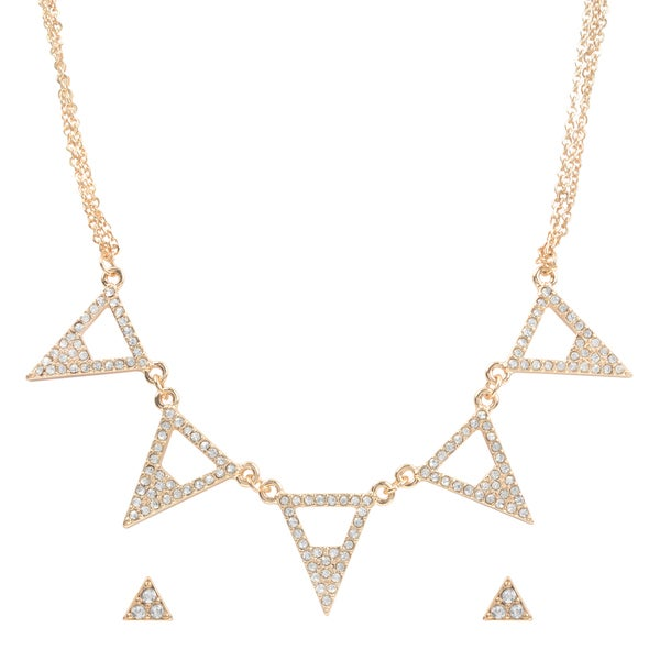 Journee Collection Brass Cubic Zirconia Triangle Pendant and Earring Set