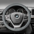 FH Group Gray Perforated Genuine Leather Steering Wheel Cover